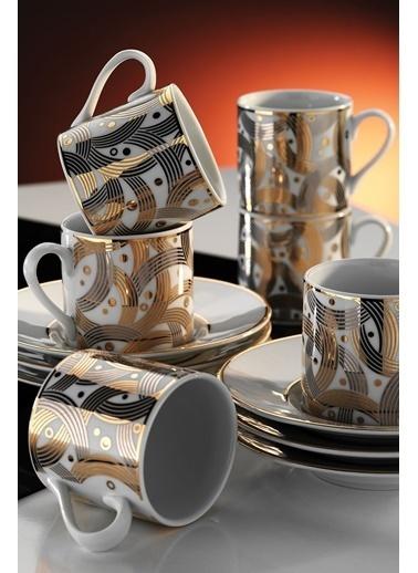 Kütahya Porselen Rüya 7055 Desen Kahve Fincan Takımı Renkli